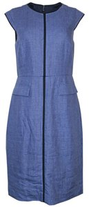 J.Crew short dress Heathered Blue Linen Back Zip Dry Clean on Tradesy