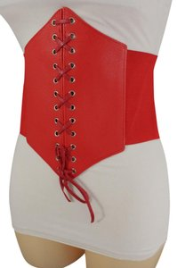 Alwaystyle4you Women Corset Belt Hip High Waist Red Stretch Wide Faux Leather Sexy
