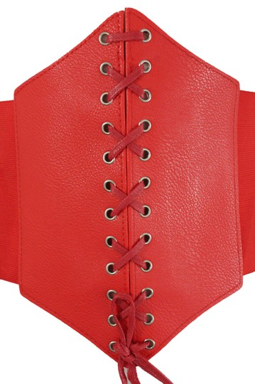 Alwaystyle4you Women Corset Belt Hip High Waist Red Stretch Wide Faux Leather Sexy Image 2