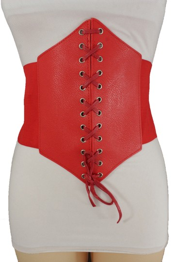 Alwaystyle4you Women Corset Belt Hip High Waist Red Stretch Wide Faux Leather Sexy Image 3