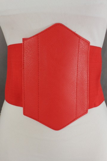 Alwaystyle4you Women Corset Belt Hip High Waist Red Stretch Wide Faux Leather Sexy Image 5