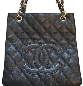 Chanel Leather Shopper Tote in black