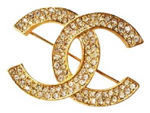 Chanel Vintage Chanel Gold Plated CC Silver Crystal Brooch