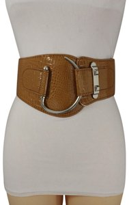 Alwaystyle4you Women Elastic Brown Hip Waist Fashion Corset Belt Big Silver Hook