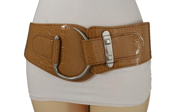 Alwaystyle4you Women Elastic Brown Hip Waist Fashion Corset Belt Big Silver Hook Image 5