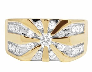Jewelry Unlimited 10K Yellow Gold Real Diamond Mens Designer Pinky Statement Ring 1.25ct