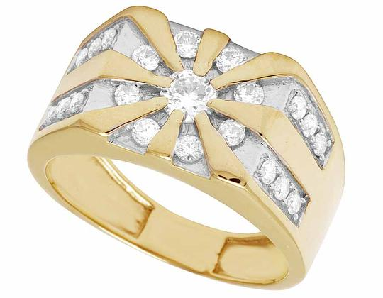 Jewelry Unlimited 10K Yellow Gold Real Diamond Mens Designer Pinky Statement Ring 1.25ct Image 2