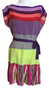 Nanette Lepore short dress purple green pink red multicolor on Tradesy
