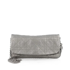 Dior Christian Leather Cannage Quilting Silver Clutch