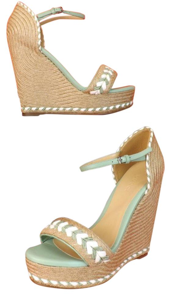 Gucci Mint Green  White Natural Tiffany Espadrille Wedge Sandals 9 ...