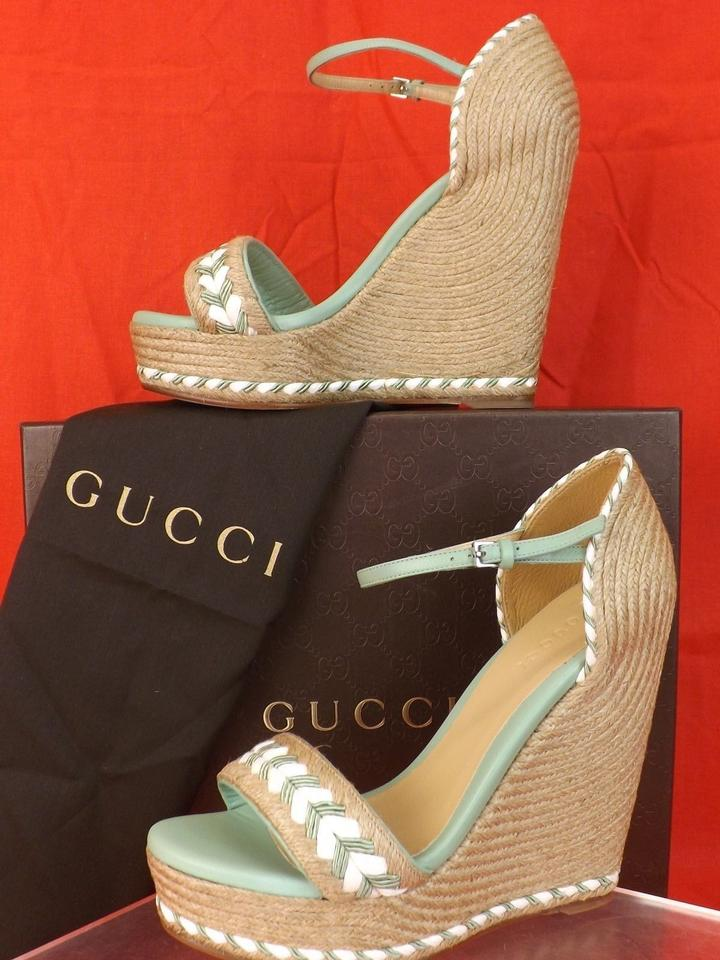 5008241214b Gucci Mint Green  White Natural Tiffany Espadrille Wedge Sandals 9 ...