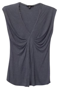Banana Republic Ruched Long Knit Sleeveless Small T Shirt Blue