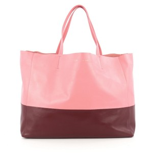 Céline Leather Tote in maroon and pink