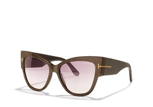 Tom Ford NEW Tom Ford TF371 Anoushka Dove Grey Striped Cat Eye Sunglasses
