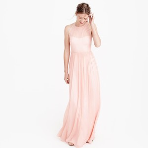 J.Crew Misty Rose Pink Megan Long Dress In Silk Chiffon Dress