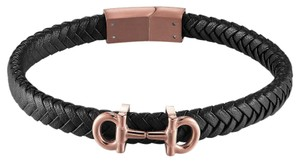 Master Of Bling AA Designer Luxury Bracelet Black Leather Braided Band Rose Gold Tone