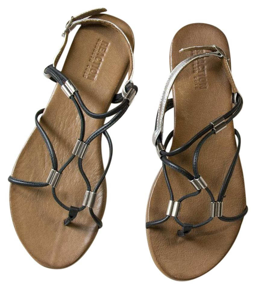 394f42d6a5f0 Kenneth Cole Reaction Black 10m Spiralli Leather Thong Toe Ankle Strap  Sandals