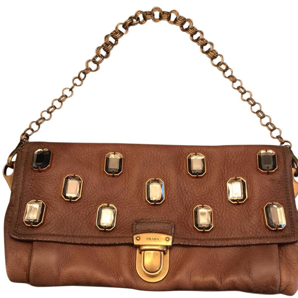Brown Bejeweled Clutch Chain Pietre Embellished Leather Prada N0vnw8m