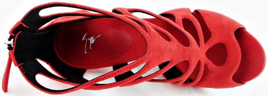 Giuseppe Zanotti Designer Ankle Cut-out Suede Red Pumps Image 2