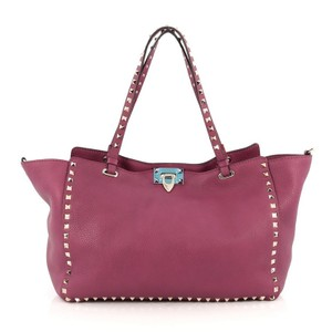 Valentino Leather Tote in Dark Pink
