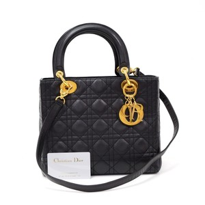 Dior Christian Cannage Cannage Lambskin Cannage 2 In 1 Tote in Black