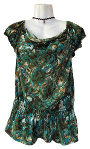 Eyeshadow Cowl Capped Peplum Elastic Tones Top green