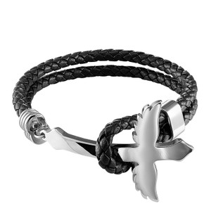 Master Of Bling Stainless Steel Black Leather Bracelet 14k White Gold Finish 39MM