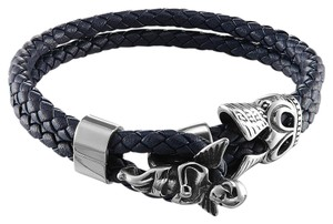 Master Of Bling Praying Angel Design Bracelet Double Blue Leather Band Stainless Steel