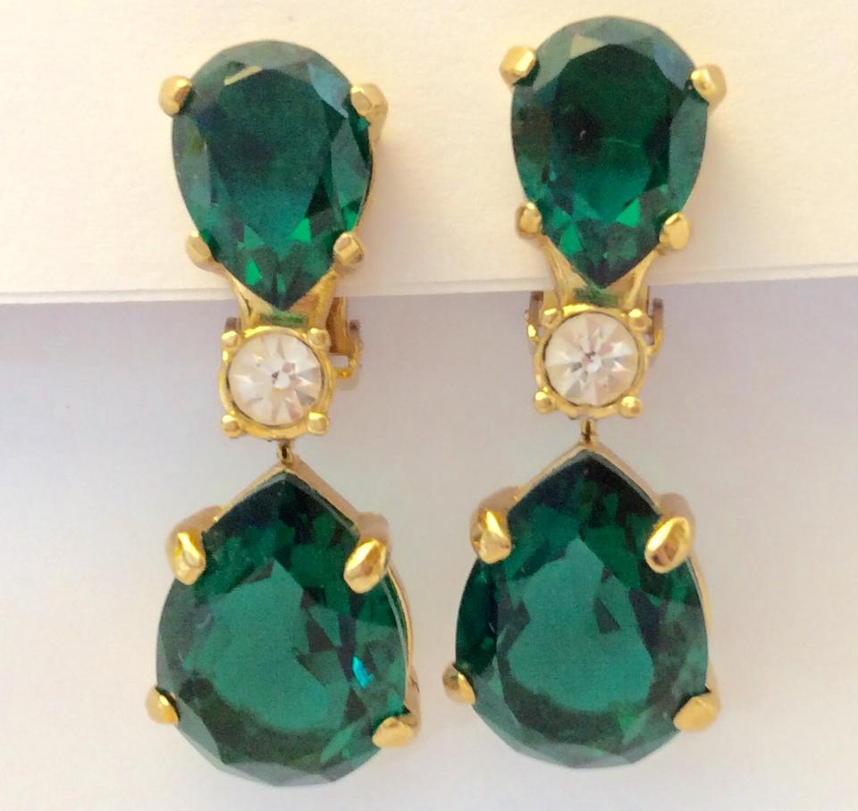 Emerald Teardrop Clip Earrings In Gold 12345678