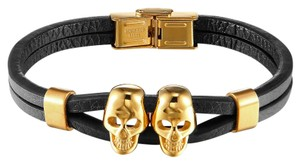 Master Of Bling Double Skull Black Leather Bracelet 14k Gold Finish Stainless Steel