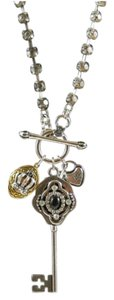 Juicy Couture Silver tone key/heart lock/crown locket charm necklace