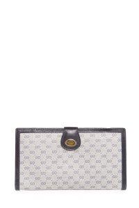 Gucci Vintage Navy Microguccissima GG Coated Canvas Wallet