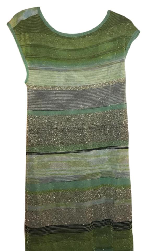 743a31ca01d01 Missoni Green Blue Gold Verdant Space Due Shift Short Casual Dress ...