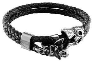 Master Of Bling Angel Design Bracelet Stainless Steel Double Braided Black Wrist Band