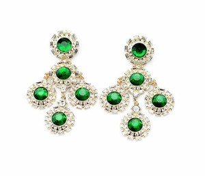 Other Green Gem Sexy Star Style Vintage Luxury Crystal Big Earrings