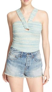 Free People Top Blue & White