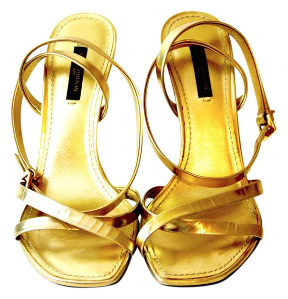 c4ee6cc6e37d Louis Vuitton Gold Metallic Leather and Hammered Heel Strappy Sandals