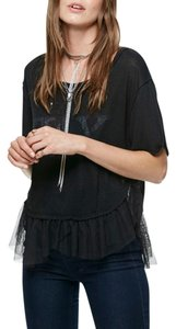 Free People Punk Festival Tulle T Shirt Black