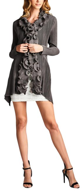 Preload https://img-static.tradesy.com/item/21206988/grey-ruffle-collar-front-hooked-pleated-cardigan-size-os-one-size-0-1-650-650.jpg