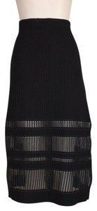 RVN Sheer Knit Evening Skirt BLACK