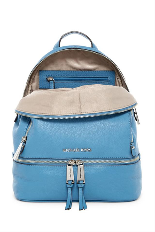 ce933d0095246 Michael Kors - Rhea Zip Small Sky Leather Backpack - Tradesy