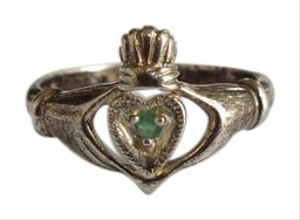 Other Sterling Silver Claddagh Engagement Ring with Heart Cut Green Stone