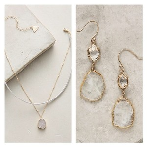 Anthropologie NWT Reflection Drops Earrings + Matching Choker Necklace SET!