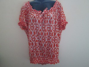 Faded Glory Ikat Spring Summer Smocked Casual Top Orange & White