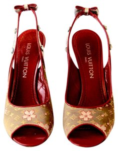 Louis Vuitton Vintage Leather Monogram Limited Edition cherry blossom studded Sandals