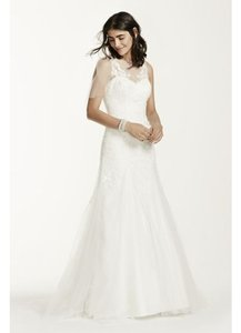 David's Bridal Illusion Neck Wedding Dress With Deep V Back Wedding Dress