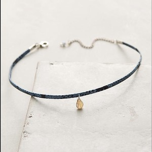 Anthropologie NWT Stone Leather Choker Necklace