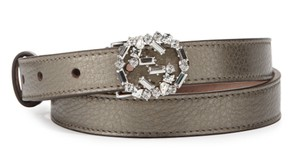Gucci New Gucci Crystal GG Buckle Skinny Belt Metallic Grey Leather 100/40