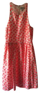 J.Crew short dress WHITE WITH NEON PINKISH ORANGE Summer Flowers on Tradesy
