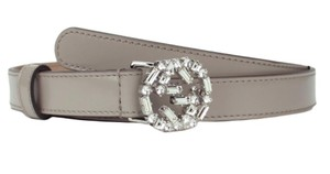 Gucci New Gucci Crystal GG Skinny Belt Grey Leather SZ 95/38